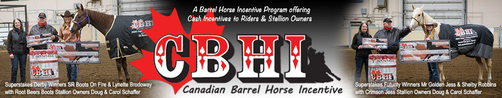 Canadian Barrel Horse Incentive - offering Cash Incentives to Riders & Stallion Owners.